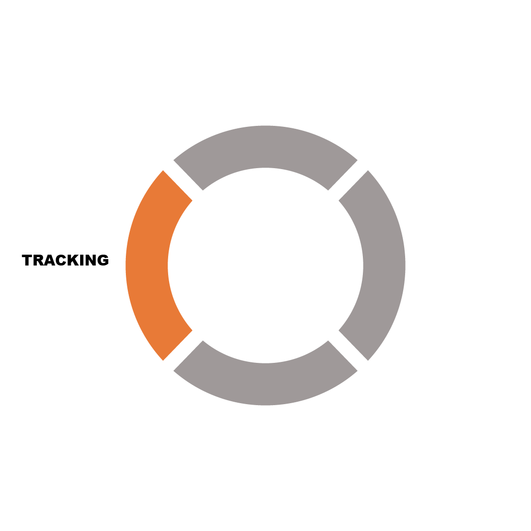 Orange and grey circle with text saying tracking