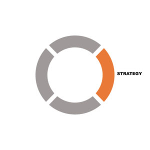 Orange and grey circle with text saying strategy