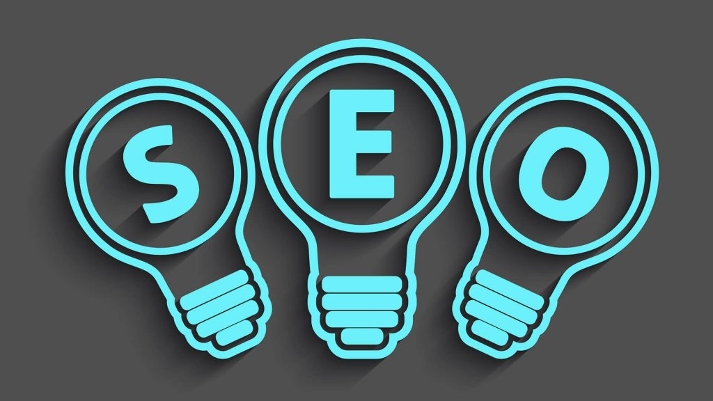 Three blue lightbulbs with SEO written inside