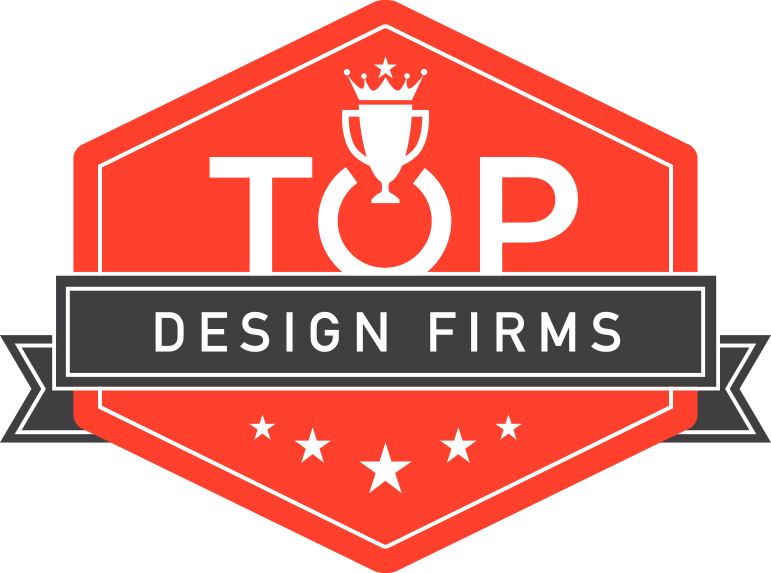 top design firms logo in red and black
